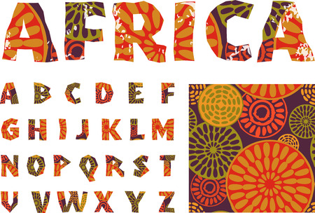 africa tree: Africa - alphabet and pattern