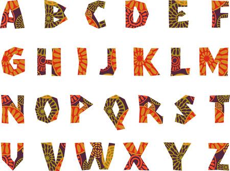 África - alfabeto con dibujos Vectores