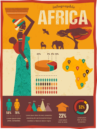 african mask: Africa - infographics and background