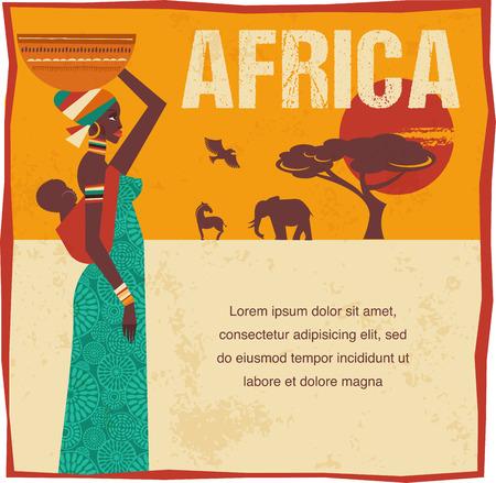 아프리카 - 인포 그래픽과 배경 일러스트