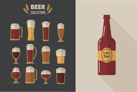 vasos: Colección de vectores plana Vasos de cerveza. Los iconos y las ilustraciones