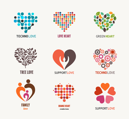 apoyo familiar: Colecci�n de iconos del coraz�n del vector y s�mbolos
