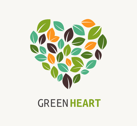 passion ecology: Green heart - vector icon Illustration