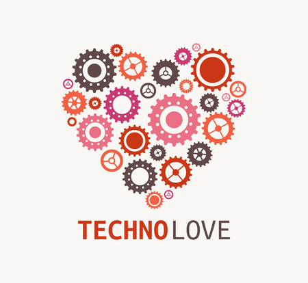 non profit: Technology blue heart with cogweels