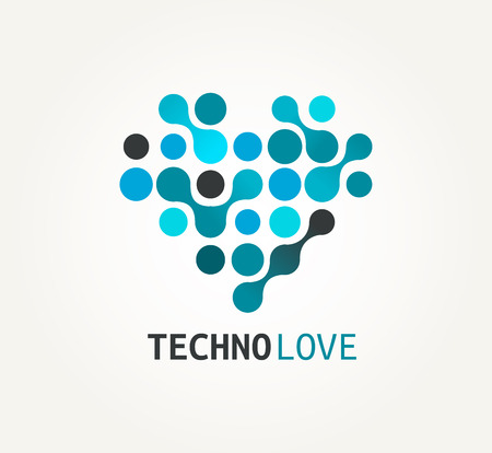 Technology blue heart