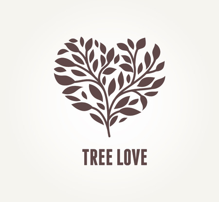 passion ecology: Tree heart - vector icon