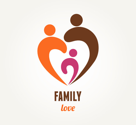 rodzina: Miłość rodzina - ikona serca i symbol Ilustracja