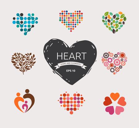 corazon en la mano: Colección de iconos del corazón del vector y símbolos