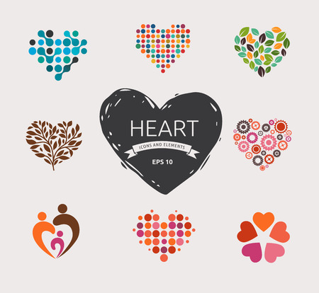 heart hands: Collection of vector heart icons and symbols