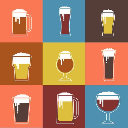 cerveza: Colección de vectores plana Vasos de cerveza