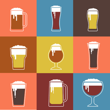 glasses: Collection of flat vector Beer glasses Illustration