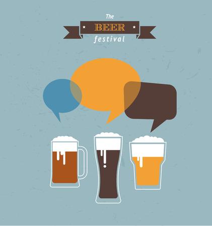 Beer glasses talking Vector