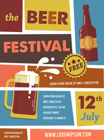 glasses of beer: Beer Festival vintage poster