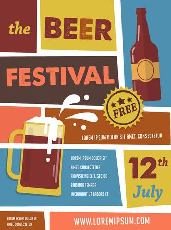 vasos de cerveza: Cartel Festival de la Cerveza de la vendimia Vectores