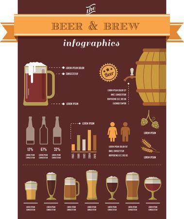ビール インフォグラフィックスと要素  イラスト・ベクター素材