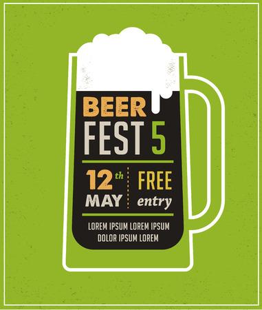 맥주 축제 빈티지 포스터 일러스트