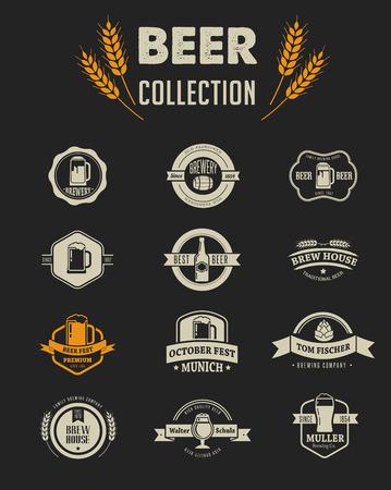 cerveza negra: Colección de iconos y elementos de cerveza vector plana Vectores