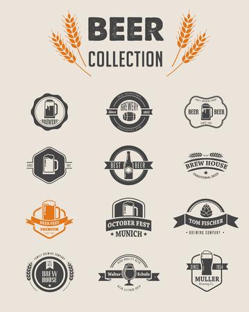 logos restaurantes: Colecci�n de iconos y elementos de cerveza vector plana Vectores