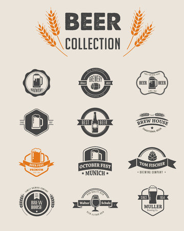 glasses of beer: Collection of flat vector Beer icons and elements Illustration