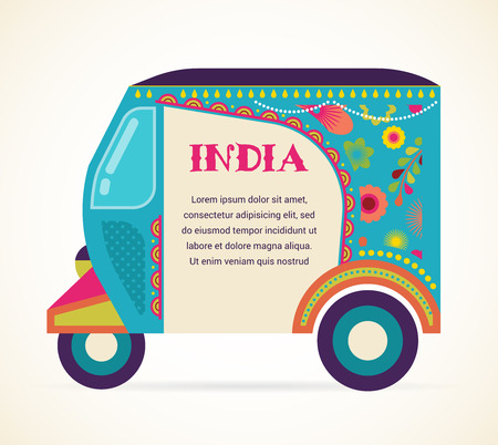 india pattern: India - background with patterned rickshaw