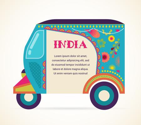 rikscha: Indien - Hintergrund mit gemusterten Rikscha