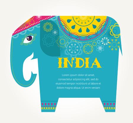 indische muster: Indien - Hintergrund mit gemusterten Elefanten