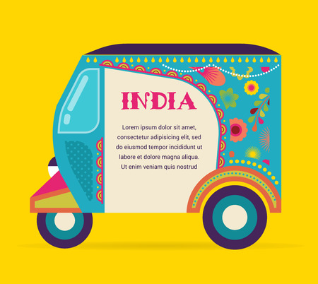 indian people: India - background with patterned rickshaw