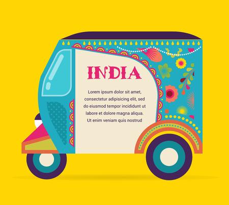 indianische muster: Indien - Hintergrund mit gemusterten Rikscha