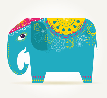 india people: India - background with patterned elephant