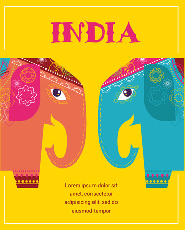 india culture: India - background with patterned elephants Illustration