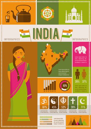 independence day: India infographics and elements Illustration