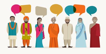 インド人の話 - 異なるインド宗教。ベクトル イラスト
