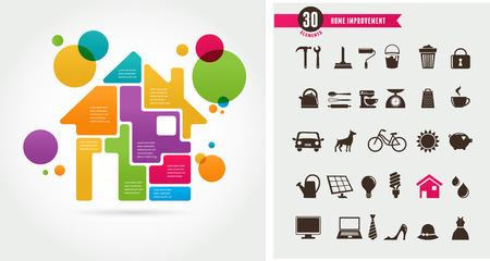 information symbol: Home - infographics and icon set Illustration