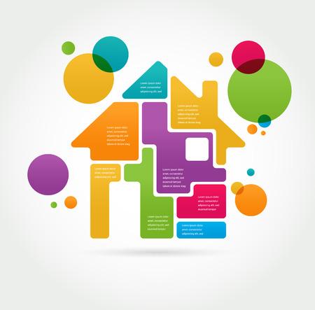 case colorate: Casa - infografica e set di icone Vettoriali