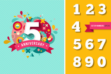 40th: anniversary - background with set of numbers