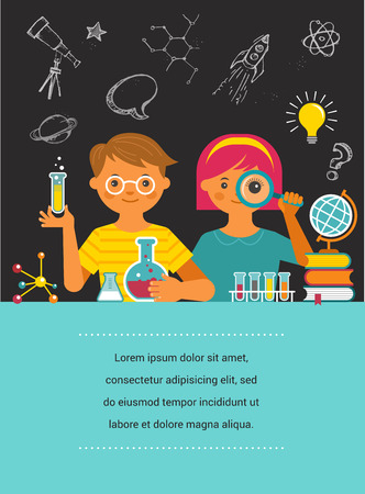 Young scientist - education, research and school Ilustrace