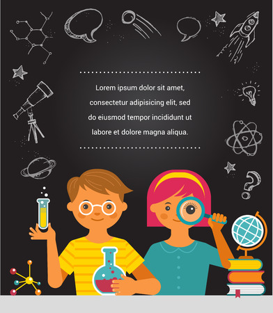 Young scientist - education, research and school Stock Illustratie
