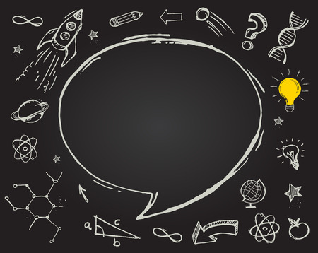 math icon: education, science doodles on chalkboard Illustration