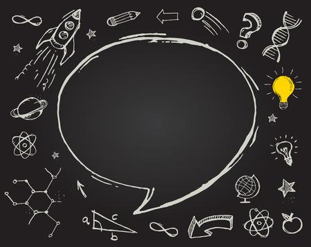 matematica: la educación, la ciencia garabatos en la pizarra Vectores