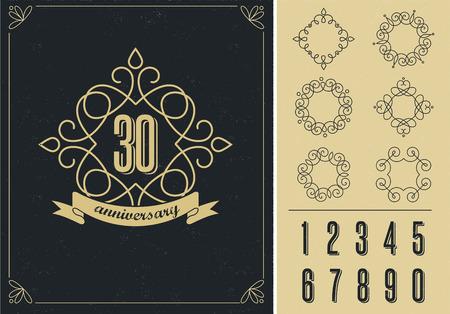 number 50: anniversary - art line background with frames Illustration