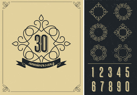 40th: anniversary - art line background with frames Illustration