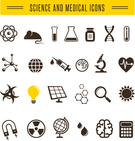 mad scientist: Scientist pack - Research, Bio and chemistry icons Illustration