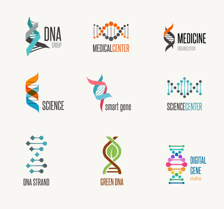 genetic research: DNA, genetic elements and icons collection