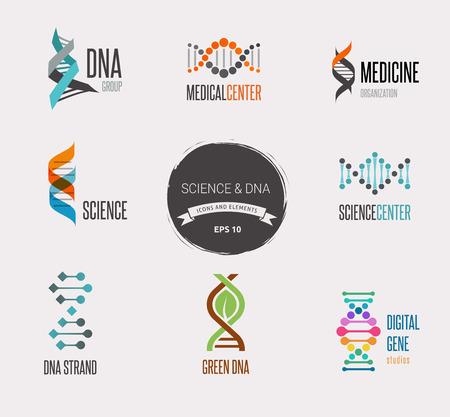biotecnologia: ADN, elementos e iconos genética colección