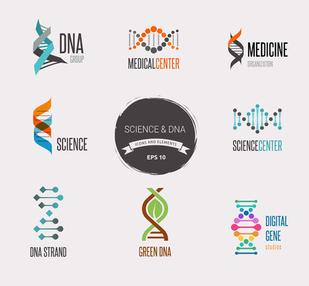 dna structure: DNA, genetic elements and icons collection