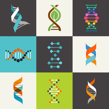 evolution: DNA, genetic elements and icons collection