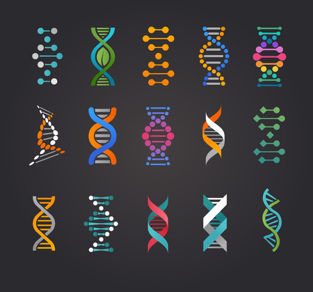 DNA, genetische elementen en iconen collectie Stock Illustratie