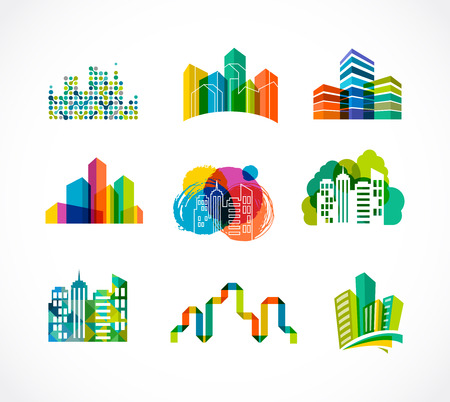real estate sign: Colorful real estate, city and skyline icons