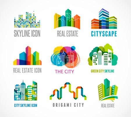 kết cấu: Biểu tượng bất động sản đầy màu sắc, thành phố và đường chân trời