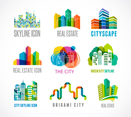 city background: Colorful real estate, city and skyline icons